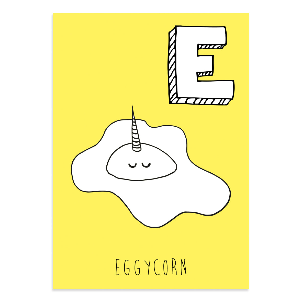 Unicorn postcard featuring E for Eggycorn