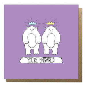 Purple engagement card with an illustration of two bears