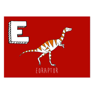 Red postcard featuring the letter E for eoraptor
