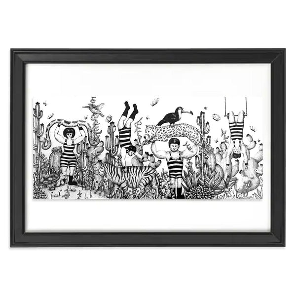 Original pen drawing featuring circus characters