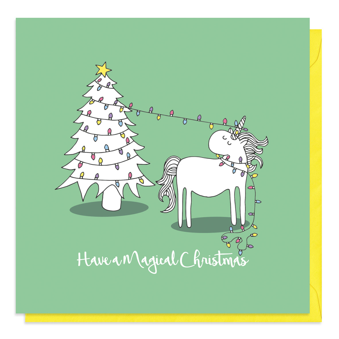 Green Christmas card with an illustration of a unicorn in fairy lights