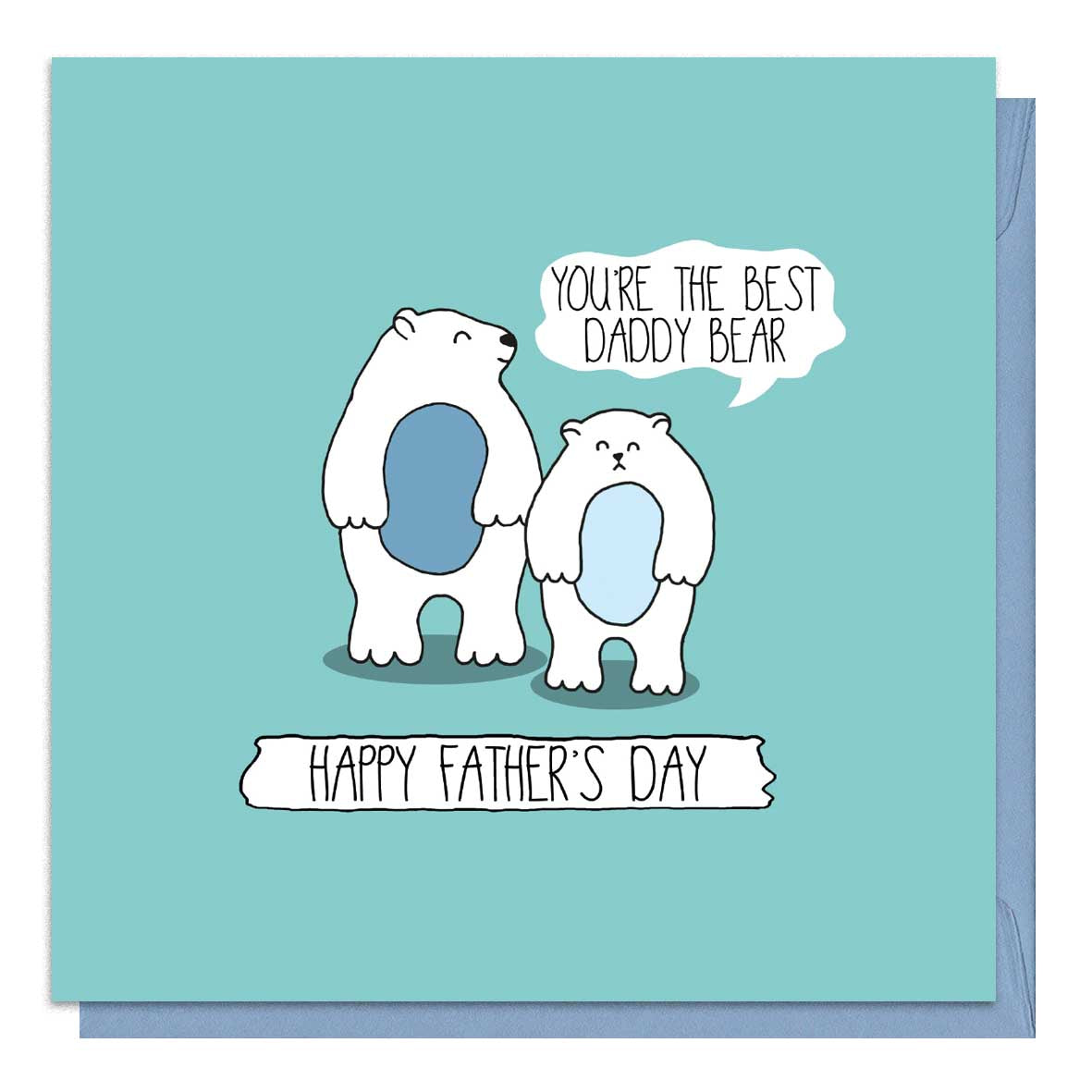 Green Father's Day Card with a daddy and baby bear