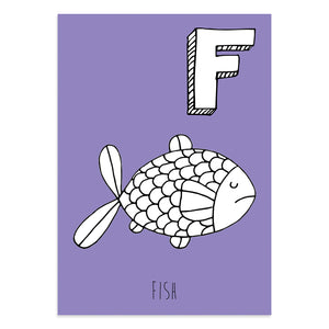 Purple postcard featuring an image of a fish