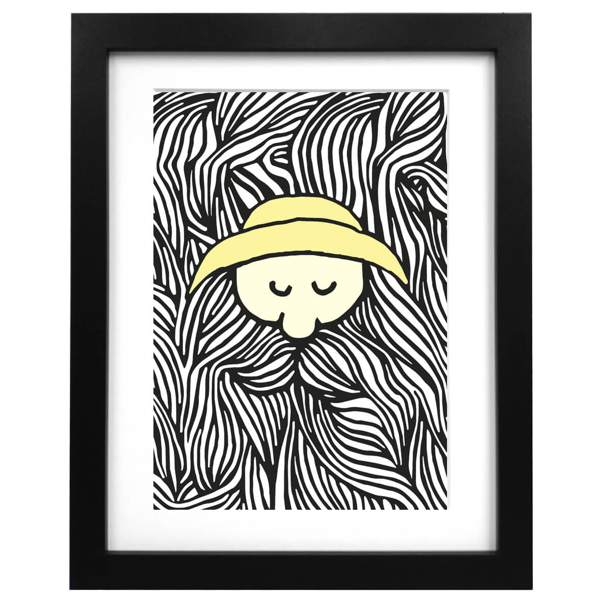 A3 art print with an illustration of a fisherman with a huge beard
