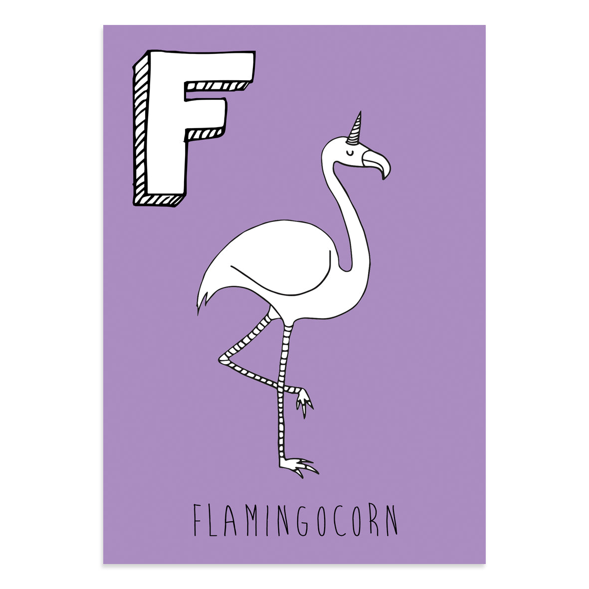 Unicorn postcard featuring F for flamingocorn