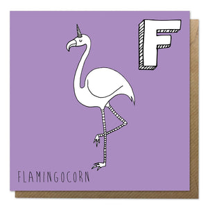 Purple greeting card with an illustration of a flamingo unicorn