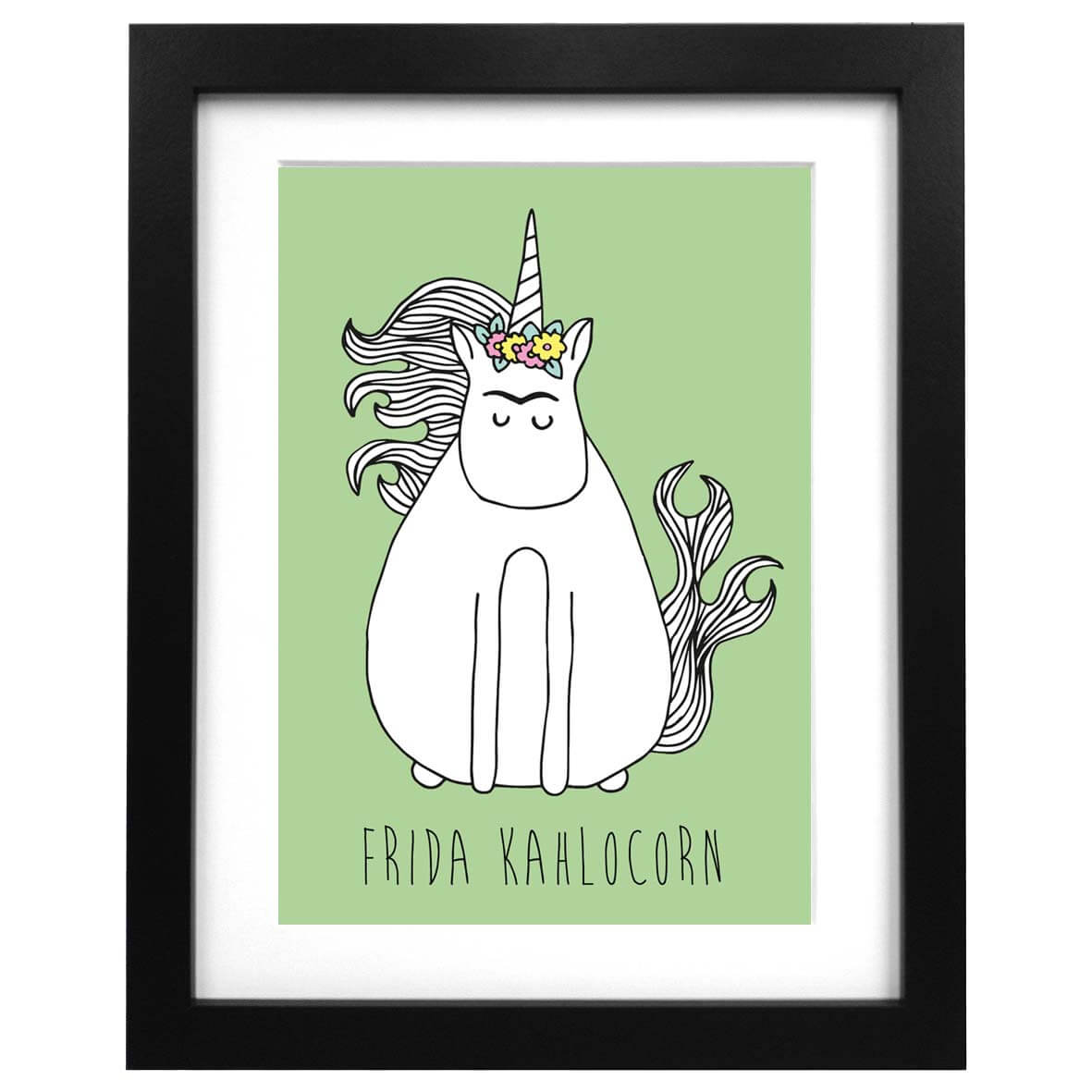 Green A3 art print with an illustration of Frida Kahlo unicorn