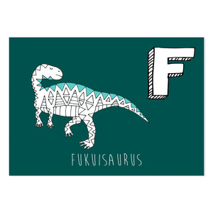 Turquoise postcard featuring the letter F for Fukuisaurus