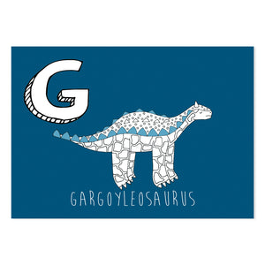 Blue postcard featuring the letter G for gargoyleosaurus