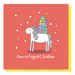 Red Christmas card with an illustration of a unicorn carrying gifts