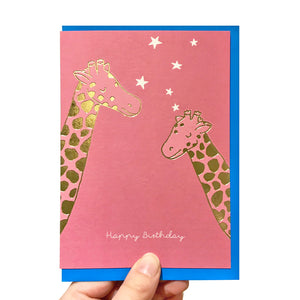 Gold giraffe birthday card
