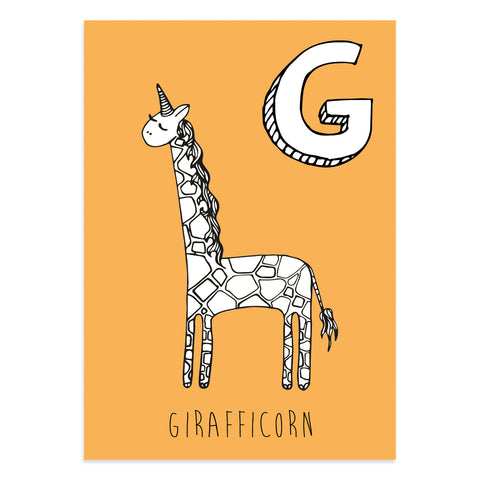 Unicorn postcard featuring G for girafficorn