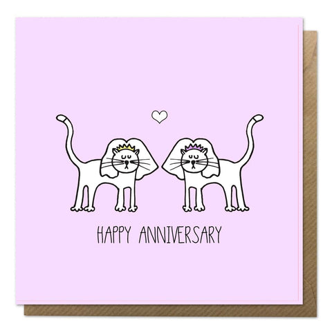Pink anniversary card with an illustration of two cats wearing veils