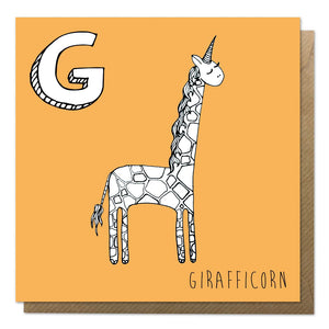 Orange greeting card with an illustration of a giraffe unicorn