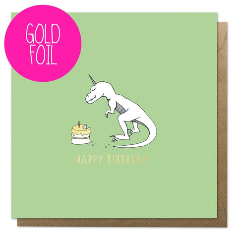 Green birthday card with an illustration of a dinosaur unicorn