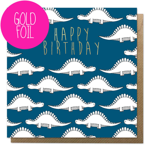 Blue dinosaur birthday card with gold foil and brown envelope