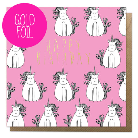 Gold foil unicorn birthday card with brown envelope