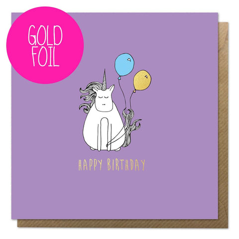 Purple birthday card with a unicorn, balloons and gold foil