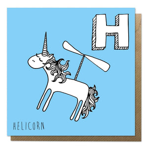 Blue alphabet unicorn card featuring helicopter unicorn