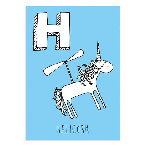 Unicorn postcard featuring H for helicorn