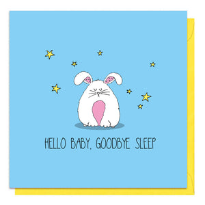 Blue new baby boy card with an illustration of a fluffy rabbit