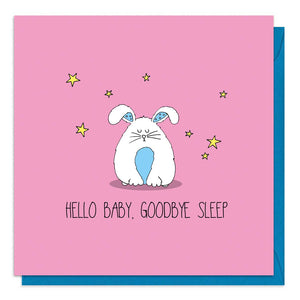 Pink baby girl card with an illustration of a cute rabbit