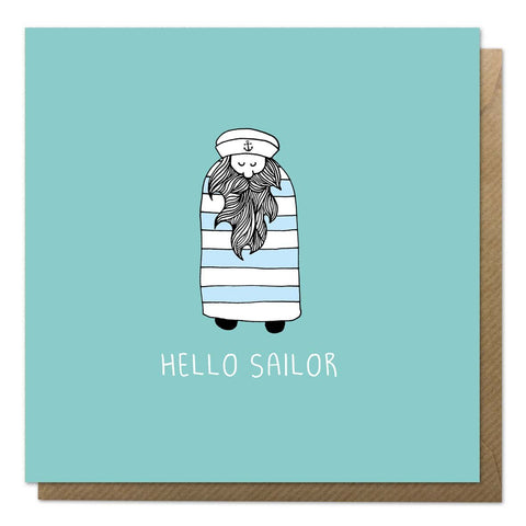 Blue greeting card with an illustration of a sailor