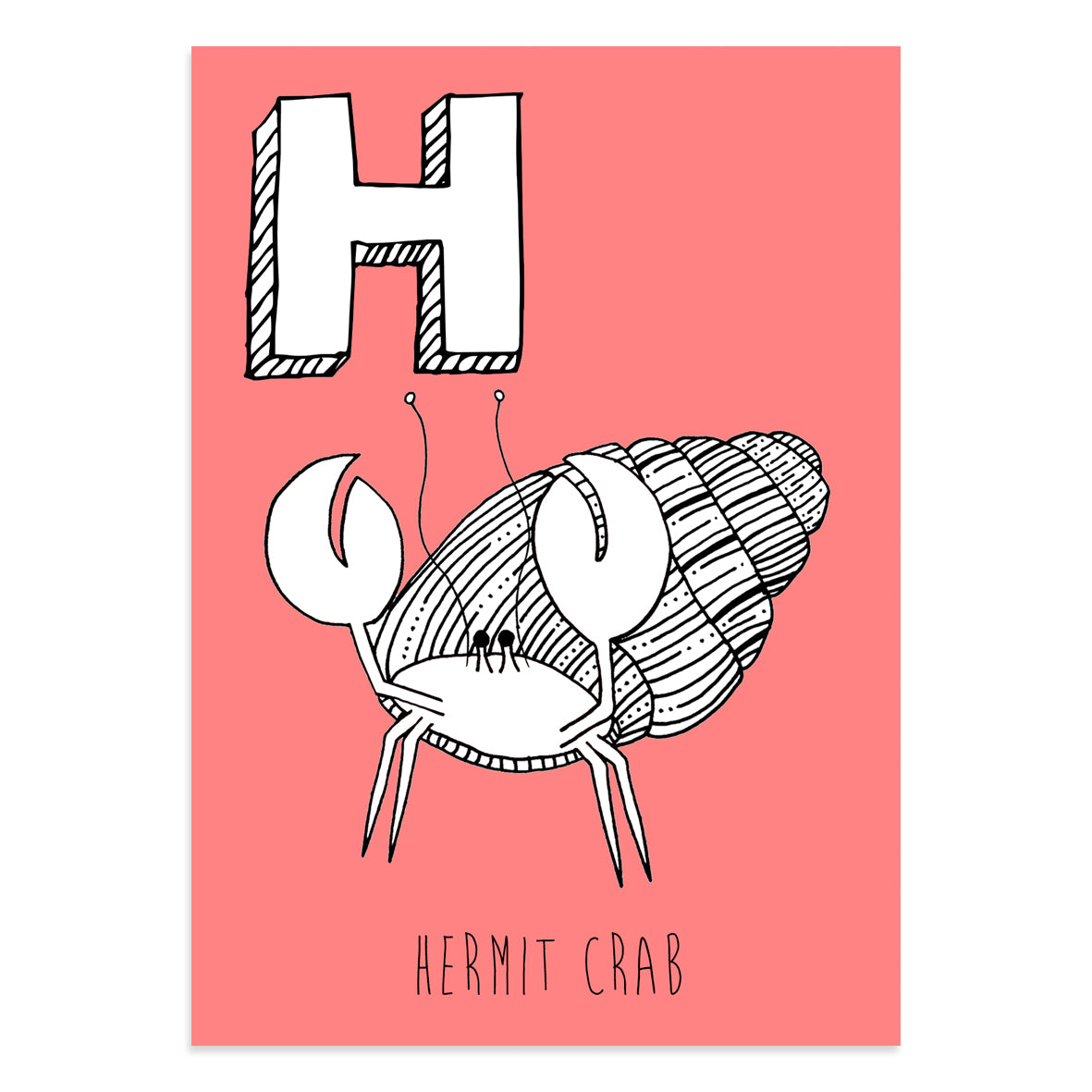 Red postcard featuring a hermit crab