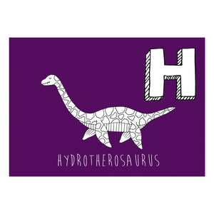 Purple postcard featuring the letter H for hydrotherosaurus