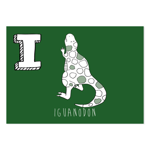 Green postcard featuring the letter I for iguanodon