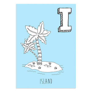 Blue postcard featuring the letter I for island