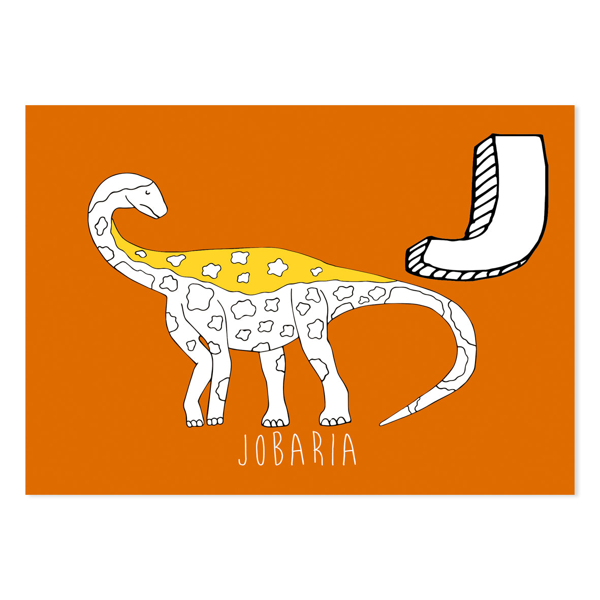 Orange postcard featuring the letter J for jobaria