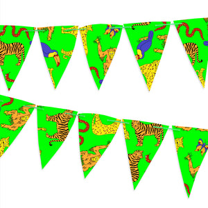 Green paper bunting covered with jungle animals