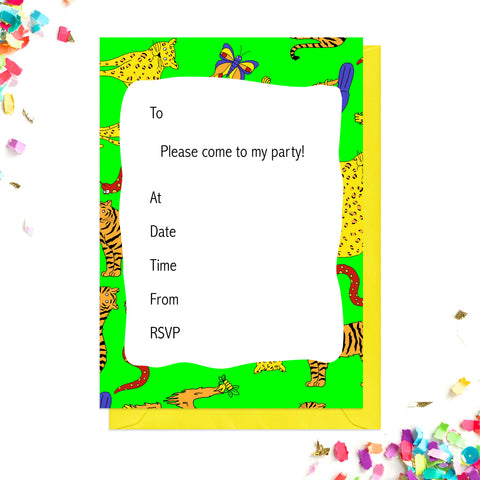 Green junle party invitations