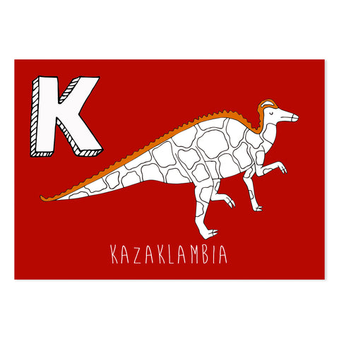 Red postcard featuring an K for kazaklambia