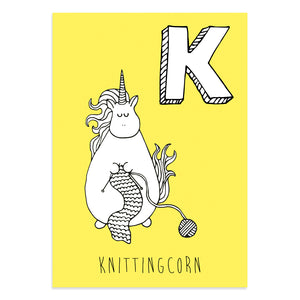 Unicorn postcard featuring K for knittingcorn