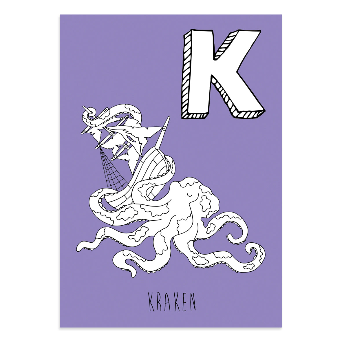 Purple postcard with a K for kraken