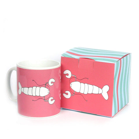 Red mug with gift box featuring a picture of a lobster