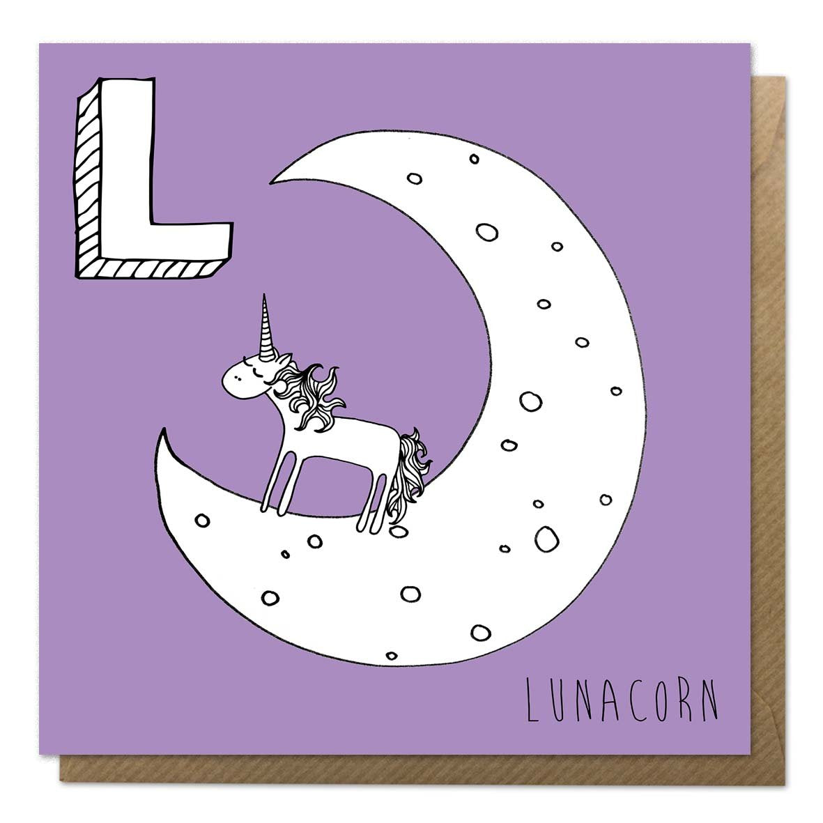 Purple unicorn alphabet card with an illustration of a lunar unicorn