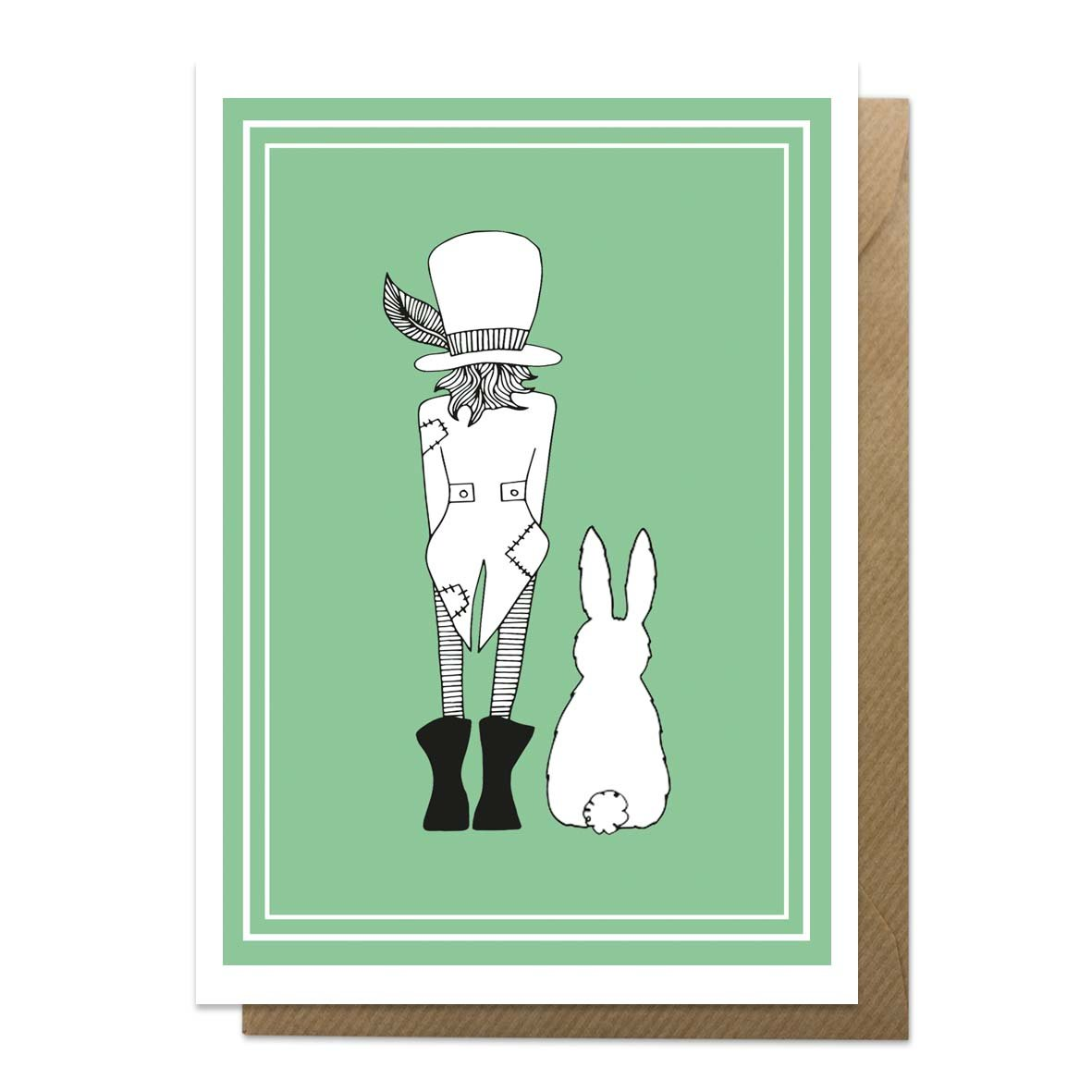 Green greeting card with an illustration of Mad Hatter
