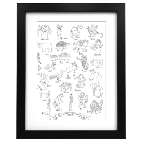 A-Z of magical creatures print