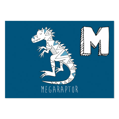 Navy postcard featuring the letter M for megaraptor