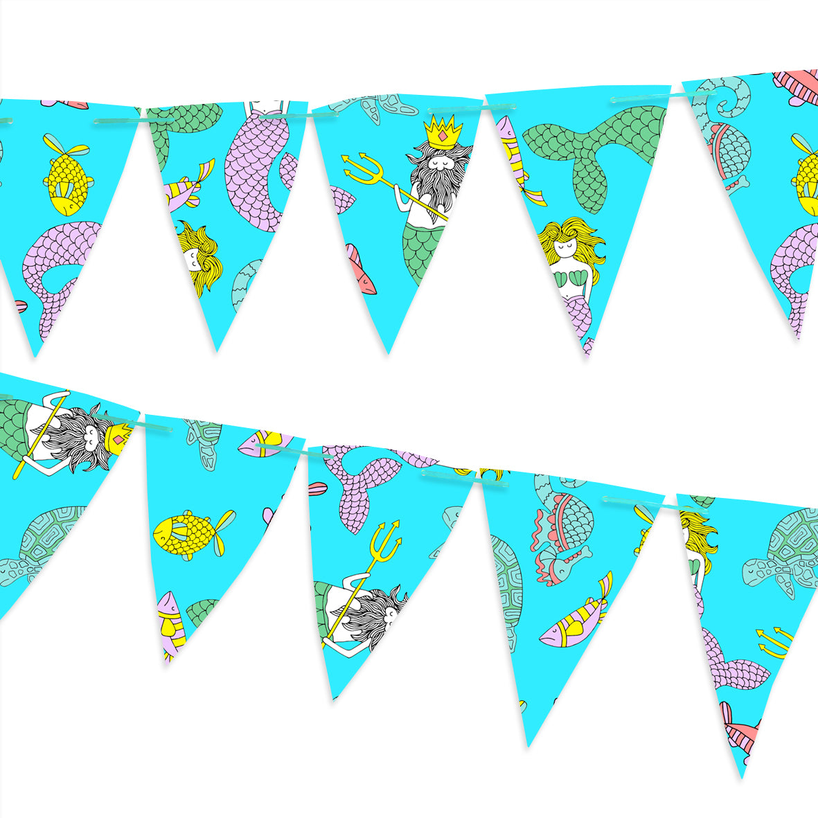 Blue bunting covered with mermaids and fish