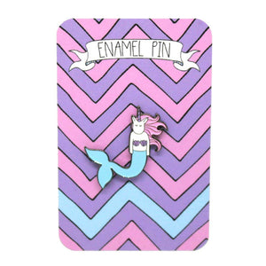 Mermaid unicorn enamel pin on backing board
