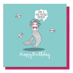Turquoise birthday card with an illustration of a mermaid