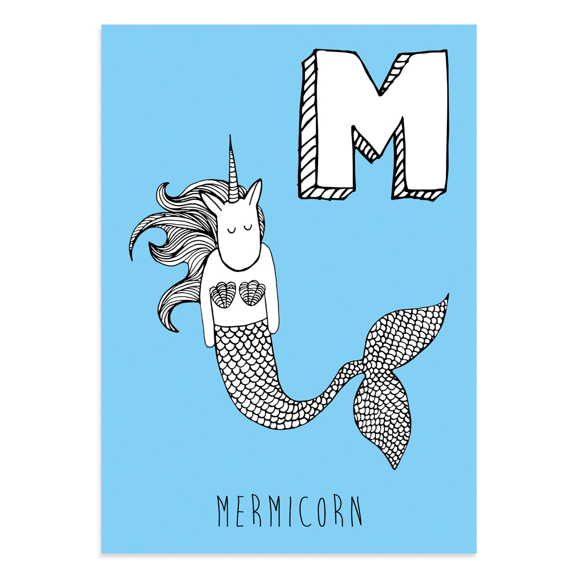 Unicorn postcard featuring M for Mermicorn