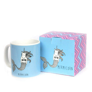 Blue unicorn mermaid mug with mermicorn gift box
