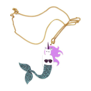 Unicorn mermaid acrylic necklace with a sparkly tail