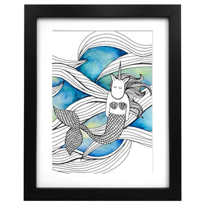 A3 sized art print with an illustration of a mermaid unicorn on a watercolour background