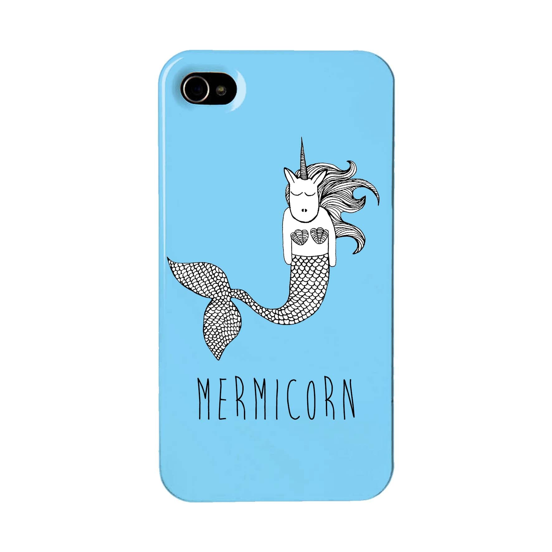 Blue phone case with an illustration of a unicorn mermaid